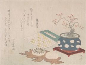 Bonsai Plum, Compass, and Pocket Sundial with Design of Calendar, from Spring Rain Surimon..., 1806. Creator: Shinsai.