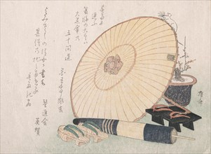 Umbrellas and Geta (Japanese Wooden Sandals), probably 1816., probably 1816. Creator: Shinsai.
