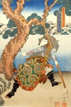 Three Heroes of the Water Margin Capture the Bandit Queen Ichijosei, 1835., 1835. Creator: Shunbaisai Hokuei.