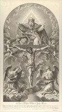 The Holy Trinity; Christ on the cross flanked by two angels, the Holy Spirit as a dove and..., 1702. Creator: Nicolas Dorigny.