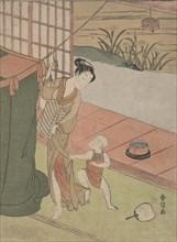 Mother and Son by a Mosquito Net, ca. 1769., ca. 1769. Creator: Suzuki Harunobu.
