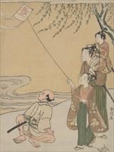 Kite Flying, ca. 1766., ca. 1766. Creator: Suzuki Harunobu.