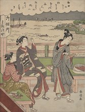A Man and Two Women at a Teahouse at Wada no Ura Overlooking the Sea. Creator: Suzuki Harunobu.