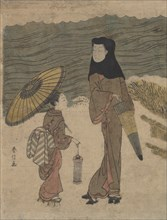 Lady with Black Hood and Umbrella Out Walking with Young Attendant. Creator: Suzuki Harunobu.