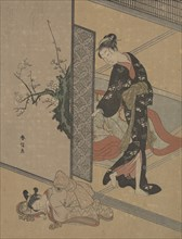 Young Lady Looking through Door at Her Kamuro (Little Servant) who is Asleep on the Floor. Creator: Suzuki Harunobu.