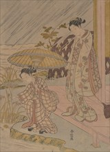 Viewing Iris in the Rain, 1764-70., 1764-70. Creator: Suzuki Harunobu.