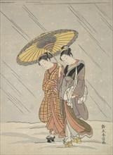 Two Women in a Storm, 1764-72., 1764-72. Creator: Suzuki Harunobu.
