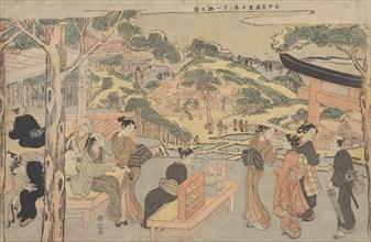 Osen of the Kagiya Teahouse at Kasamori Shrine with a View of Nippori in Yanaka, ca. 1768., ca. 1768 Creator: Suzuki Harunobu.