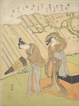 Young Man and Woman Caught in the Rain while Enjoying Cherry Blossoms (Sakura-gari)..., ca. 1768-70. Creator: Suzuki Harunobu.