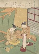 A Young Woman and Man Playing Shogi (Japanese Chess); Chunagon Kanesuke, from a ser..., ca. 1767-69. Creator: Suzuki Harunobu.