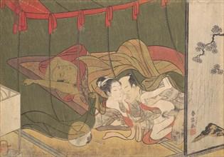 Lovers Beneath a Mosquito Net, 18th century., 18th century. Creator: Suzuki Harunobu.