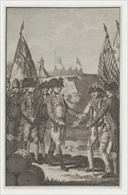 The Surrender of Earl Cornwallis (Lieutenant General of the British Army in North Am..., after 1781. Creator: Thornton.