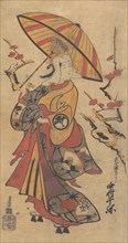"Actor Nakamura Senya as Tokonatsu in the Kabuki Play, ""The Legacy of the Three-Comma F..., ca. 1716. Creator: Torii Kiyomasu I."