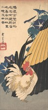 Rooster, Umbrella, and Morning Glories, ca. 1830., ca. 1830. Creator: Ando Hiroshige.