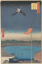 ?Azuma Bridge from Komagatado Temple,? from the series One Hundred Famous Views of Edo (Me..., 1857. Creator: Ando Hiroshige.