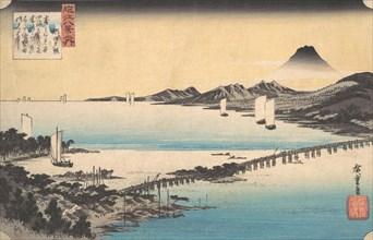 Seta no Sekisho. Sunset, Seta. Lake Biwa, ca. 1835., ca. 1835. Creator: Ando Hiroshige.