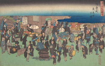 Junkei machi Yomise no Zu, ca. 1828., ca. 1828. Creator: Ando Hiroshige.