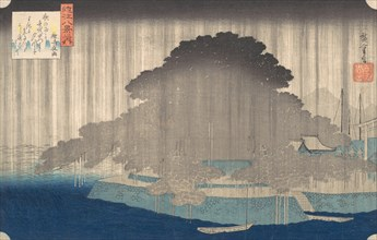 Night Rain at Karasaki, from the series Eight Views of O-mi, ca. 1835., ca. 1835. Creator: Ando Hiroshige.