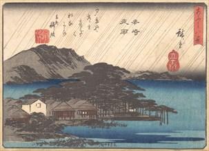 Evening Rain at Karasaki Pine Tree, ca. 1834-35. Creator: Ando Hiroshige.