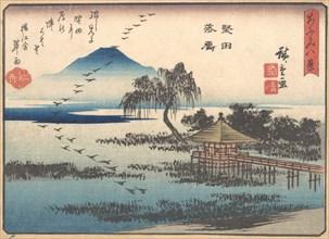 Returning Geese at Katata, 1857., 1857. Creator: Ando Hiroshige.