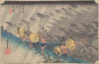 Sudden Shower at Shono, from the series Fifty-three Stations of the Tokaido, 1834-35., 1834-35. Creator: Ando Hiroshige.