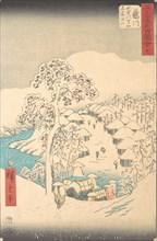 Fujikawa; Sanchu Yamanaka no Sato Miyajiyama, 7th month Hare year 1855., 7th month Hare year 1855. Creator: Ando Hiroshige.