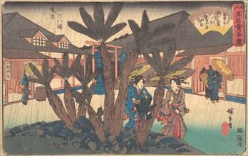 Fukagawa Hachiman Keidai (Niken Jya-ya), ca. 1840., ca. 1840. Creator: Ando Hiroshige.