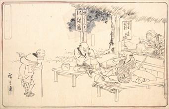 The Famous Practical Jokers Yajirobei at a Wayside Restaurant, ca. 1840., ca. 1840. Creator: Ando Hiroshige.