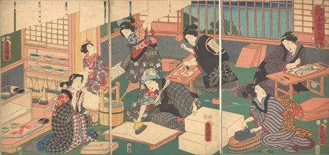 """Artisans, from the series """"An Up-to-Date Parody of the Four Classes"""", 19th century., 19th century. Creator: Utagawa Kunisada."""