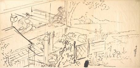 Two Courtesans Enjoying the View from a Teahouse. Creators: Utagawa Kunisada, Ichiransai Kunitsuna.