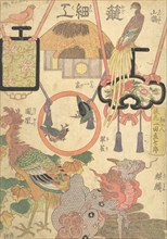 Basketry Work: By the Craftsman Ichida Shoshichiro of Naniwa (Kagosaiku Naniwa saikujin Ic..., 1819. Creator: Utagawa Kunisada.