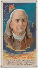 Benjamin Franklin, from the series Great Americans (N76) for Duke brand cigarettes, 1888., 1888. Creator: Unknown.
