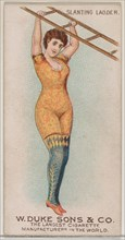 Slanting Ladder, from the Gymnastic Exercises series (N77) for Duke brand cigarettes, 1887., 1887. Creator: Unknown.