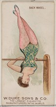 Back Wheel, from the Gymnastic Exercises series (N77) for Duke brand cigarettes, 1887., 1887. Creator: Unknown.