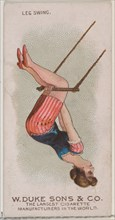 Leg Swing, from the Gymnastic Exercises series (N77) for Duke brand cigarettes, 1887., 1887. Creator: Unknown.