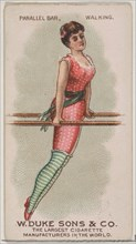 Parallel Bar, Walking, from the Gymnastic Exercises series (N77) for Duke brand cigarettes..., 1887. Creator: Unknown.