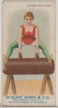 Outside Hand Vault, from the Gymnastic Exercises series (N77) for Duke brand cigarettes, 1887., 1887 Creator: Unknown.