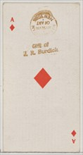 Ace of Diamonds (red), from the Playing Cards series (N84) for Duke brand cigarettes, 1888., 1888. Creator: Unknown.