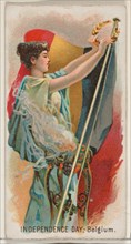 Independence Day, Belgium, Austria, from the Holidays series (N80) for Duke brand cigarett..., 1890. Creator: George S. Harris & Sons.