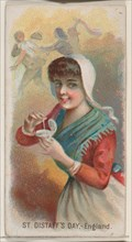 Saint Distaff's Day, England, from the Holidays series (N80) for Duke brand cigarettes, 1890., 1890. Creator: George S. Harris & Sons.