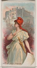 14th of July, France, from the Holidays series (N80) for Duke brand cigarettes, 1890., 1890. Creator: George S. Harris & Sons.