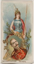 Emperor's Birthday, Germany, from the Holidays series (N80) for Duke brand cigarettes, 1890., 1890. Creator: George S. Harris & Sons.