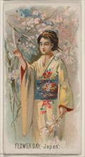 Flower Day, Japan, from the Holidays series (N80) for Duke brand cigarettes, 1890., 1890. Creator: George S. Harris & Sons.