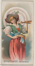 Schuetzenfest, Switzerland, from the Holidays series (N80) for Duke brand cigarettes, 1890., 1890. Creator: George S. Harris & Sons.
