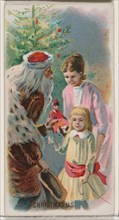 Christmas, United States, from the Holidays series (N80) for Duke brand cigarettes, 1890., 1890. Creator: George S. Harris & Sons.