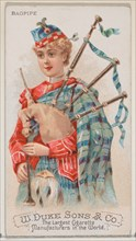 Bagpipe, from the Musical Instruments series (N82) for Duke brand cigarettes, 1888., 1888. Creator: Schumacher & Ettlinger.