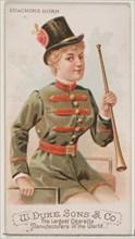 Coaching Horn, from the Musical Instruments series (N82) for Duke brand cigarettes, 1888., 1888. Creator: Schumacher & Ettlinger.