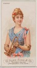 Cornet, from the Musical Instruments series (N82) for Duke brand cigarettes, 1888., 1888. Creator: Schumacher & Ettlinger.