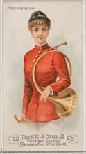 French Horn, from the Musical Instruments series (N82) for Duke brand cigarettes, 1888., 1888. Creator: Schumacher & Ettlinger.