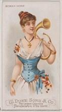 Roman Horn, from the Musical Instruments series (N82) for Duke brand cigarettes, 1888., 1888. Creator: Schumacher & Ettlinger.